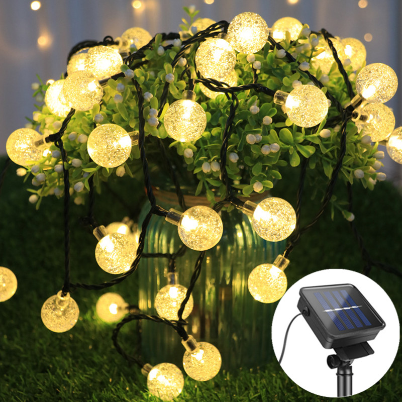 Светодиодный хрустальный шар 20/30/50, светодиодный светильник на солнечной энергии, гирлянда, гирлянда для сада, Рождественский Декор для ули...