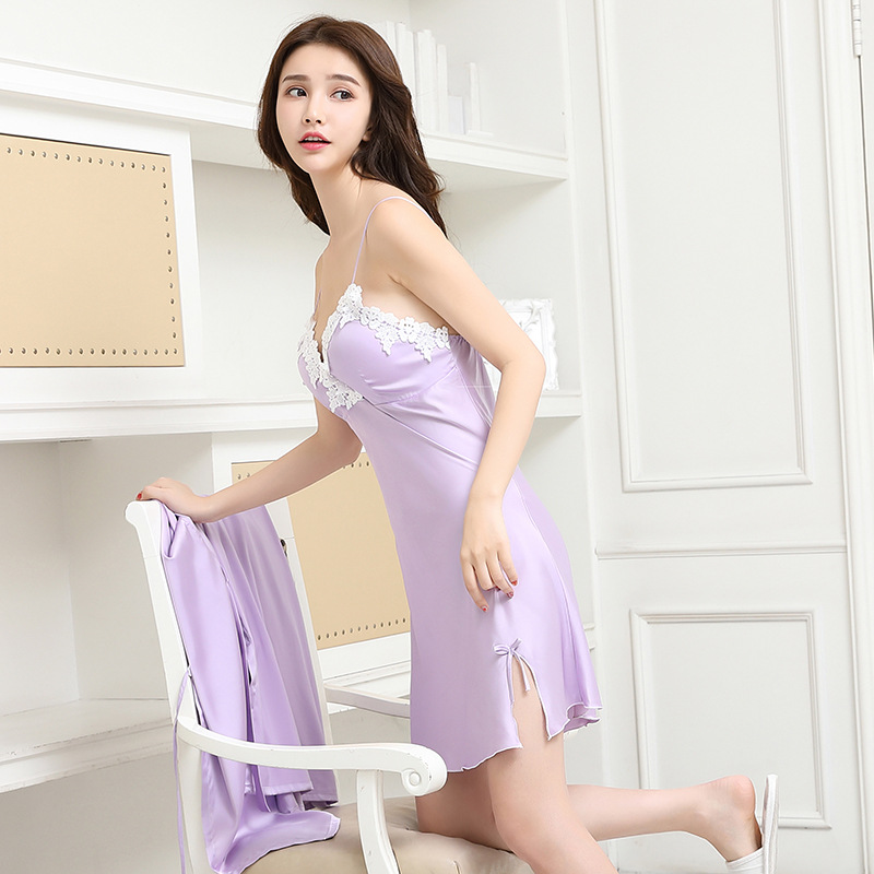 Spring And Summer New Style Nightgown Female Summer Sexy Chest Pad Chiffon Camisole Short Skirt Silk Pajamas