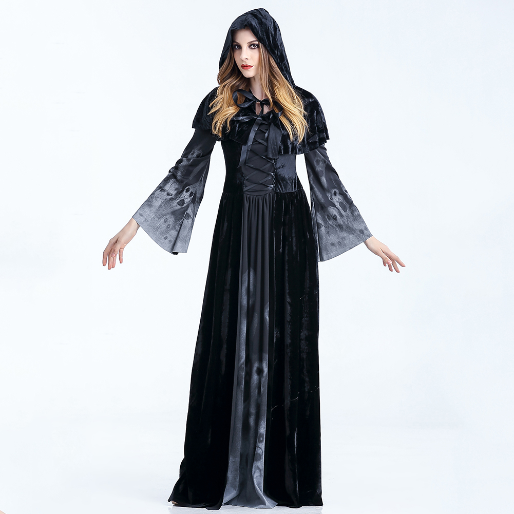 <font><b>Women</b></font> Party Horror Festival Witch <font><b>Dress</b></font> Scary Fancy Cosplay Costumes With Strap Long Sleeve <font><b>Halloween</b></font> Crew Neck With Cloak <font><b>Sexy</b></font> image