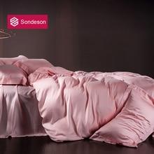 Комплект постельного белья Sondeson, роскошный женский комплект постельного белья из 100% шелка, благородный розовый, шелковистый, Королевский, п...