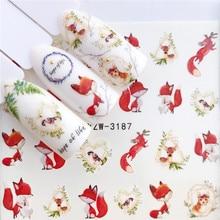 Adesivo para arte de unhas ywk 1pç, raposa, flamingo, cavalo, flor, arte de unha, decoração decalque de beleza