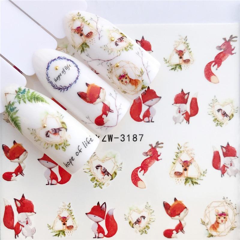 YWK 1 PC Fox / Flamingo / Horse / Flower Water Transfer Nail Art Sticker Beauty Decal Nails Art Decorations