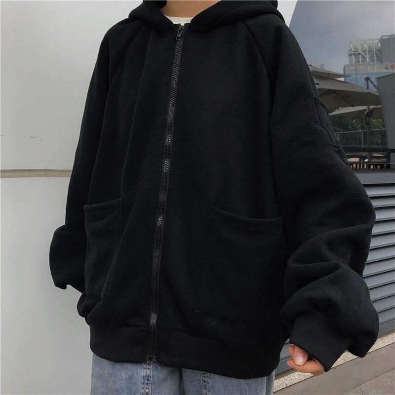 Размера плюс толстовки женские Харадзюку уличная одежда kawaii свободная толстовка на молнии Одежда в Корейском стиле, длинные рукава Топы