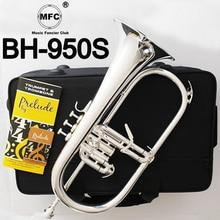 Music Fancier Club Professional Flugelhorn BH-950S Silver Plated With Case Profession Flugelhorns Bb Yellow Brass Bell