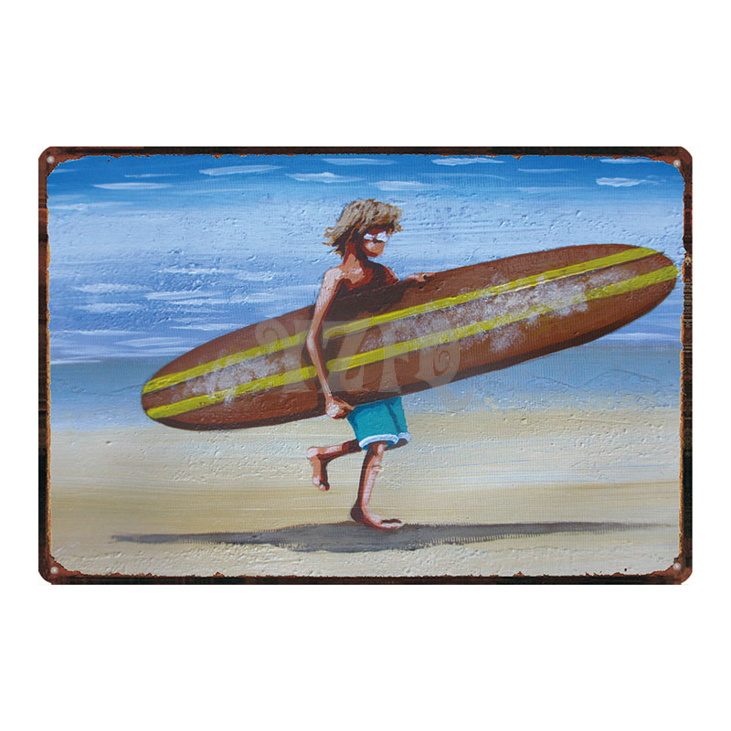 TIKI Bar Surf Sign Metal Signs Summer Beach Shabby Chic Vintage Style Wall Pub Home Art Restaurant Decor Metal Poster DU 3029A in Plaques Signs from Home Garden