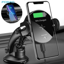 FDGAO Fast 15W Qi Car Mount Automatic Wireless Charger For iPhone XS Max XR X 8 Plus Samsung S8 S9 Note 9 10 Car Phone Holder