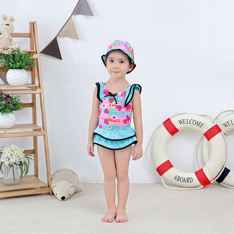 Girl'S One-piece Swimming Suit Blue Strawberry Hooded-Children Hot Springs Bathing Suit