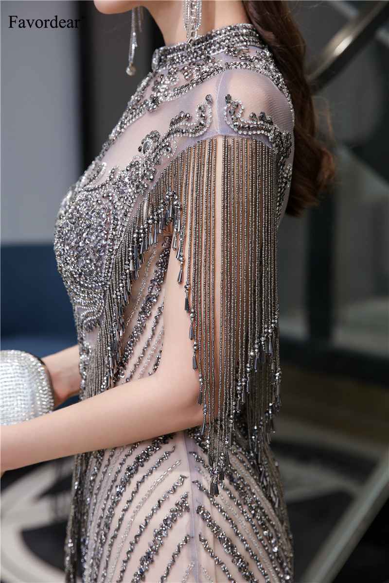 Image 5 - Favordear Sexy Mermaid Sparkly Sequin Evening Dress Vestido De Noite Luxurious High end Formal Dress Party Gown with TasselEvening Dresses   -