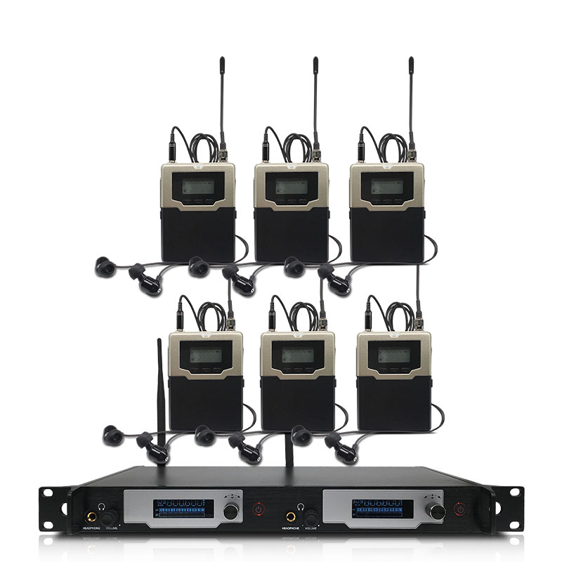 Profesjonalny bezprzewodowy douszne system monitorowania 2-kanał 6-bodypack monitor z słuchawki douszne bezprzewodowe typ monitorowania na etapie