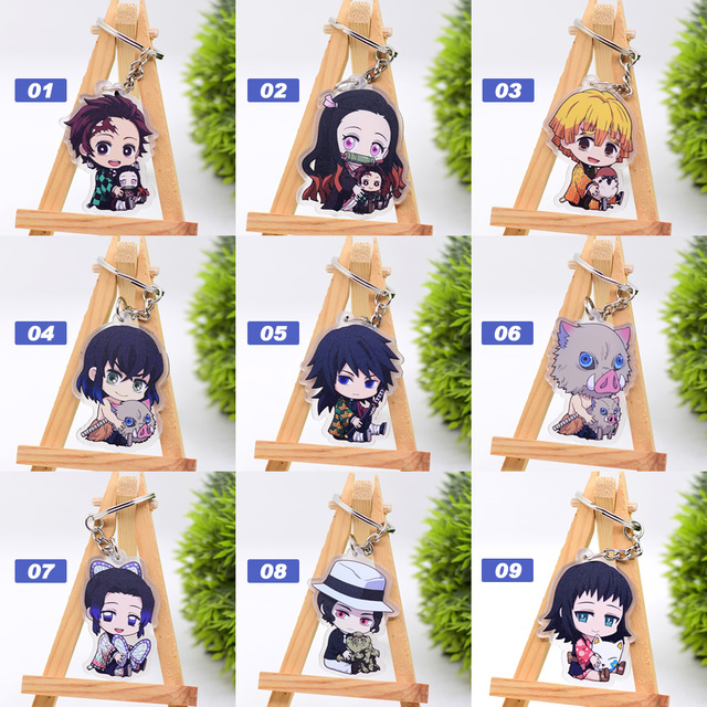 New Cartoon Keychain Demon Slayer/My Hero Academia Key Chain Ring Anime Fairy Tail/ Fire Force Keyring Hot Sales 1