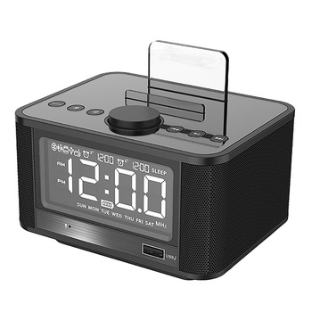 X7 LED Alarm Clock with FM Radio Wireless Bluetooth Speaker Mirror Display Support Aux TF USB Music Player Wireless for Office H