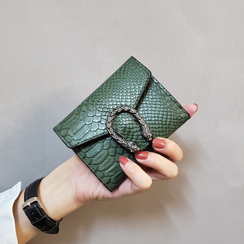 Women's Wallet Short Fashion New 2020 Serpentine Luxury Ladies Card Holder Purse Pocket Clutch Vintage Solid Snakeskin