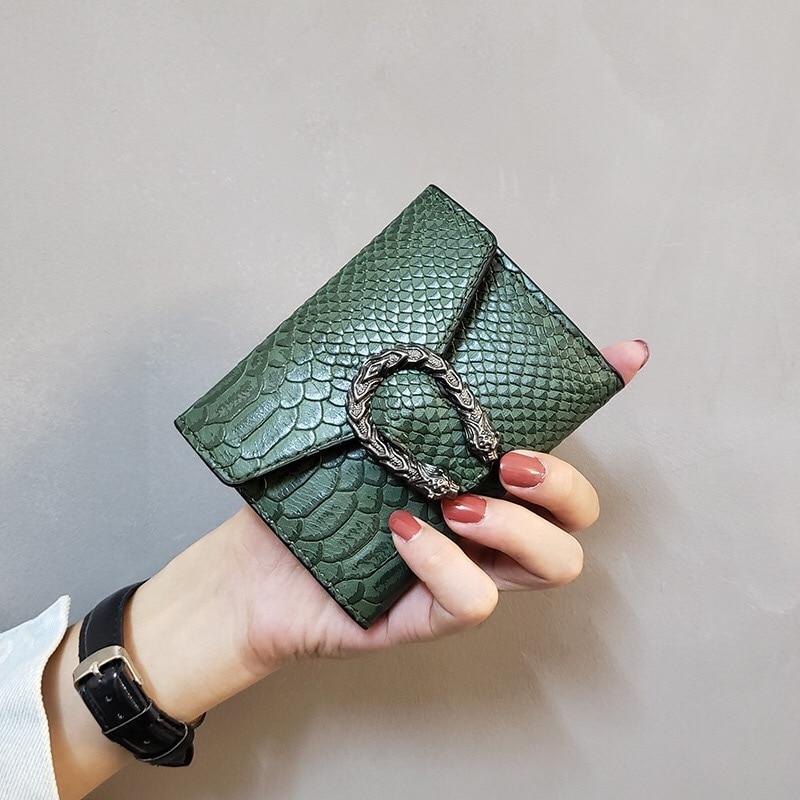 Women's Wallet Short Fashion New 2020 Serpentine Luxury Ladies Card Holder Purse Pocket Clutch Vintage Solid Snakeskin