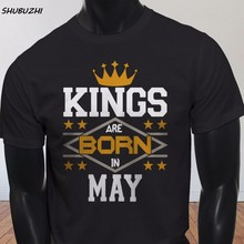 Men Cotton Tee ชายสั้น Kings Born In May Crown วันเกิด Taurus Gemini Mens สีดำ(China)