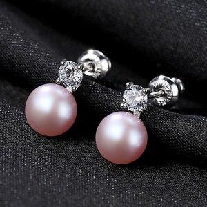 Image 4 - DOTEFFIL 925 Sterling Silve naturalna perła słodkowodna AAA Crystal stadniny kolczyki dla kobiet moda ślubna urok biżuterii