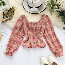2019 women twotwinstyle square collar short plaid