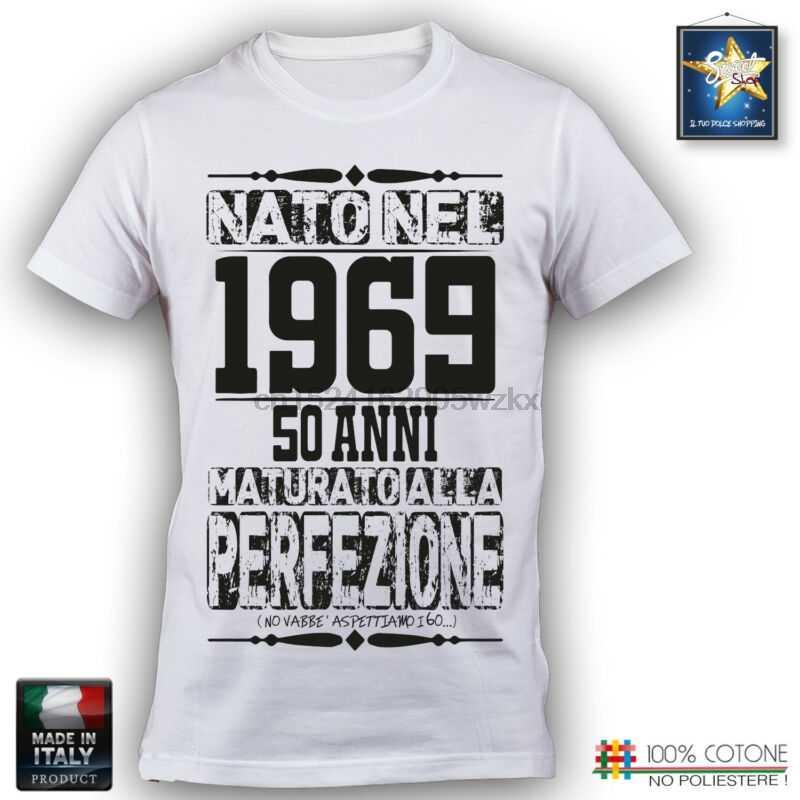 Futbolka 50 Anni Uomo Compleanno 1969 Festa Simpatica Divertente