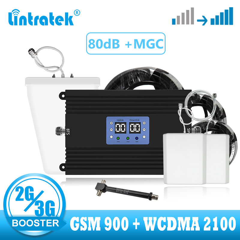 Lintratek 2g 3g Signal Booster Amplifier Gsm 900 Wcdma 2100 Umts Voice Call Repeater Cellular Signal Bosoter Wide Coverage Kit
