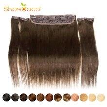 Showcoco une pièce pince dans les Extensions de cheveux humains soyeux droit fait à la Machine Remy pince à cheveux Total 5 pièces/ensemble 180g pinces à cheveux