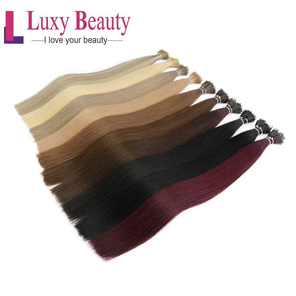 "LuxyBeauty 12""-22"" 1g/pc 8 Colors Nano Hair Extensions Machine Made Remy Micro Ring Nano Bead Hair Micro Link Hair Extensions"