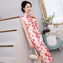 Vestido De Debutante 2020 Silk Cheongsam Long Temperament Of Restoring Ancient Ways Improved Young High grade Dress Everyday