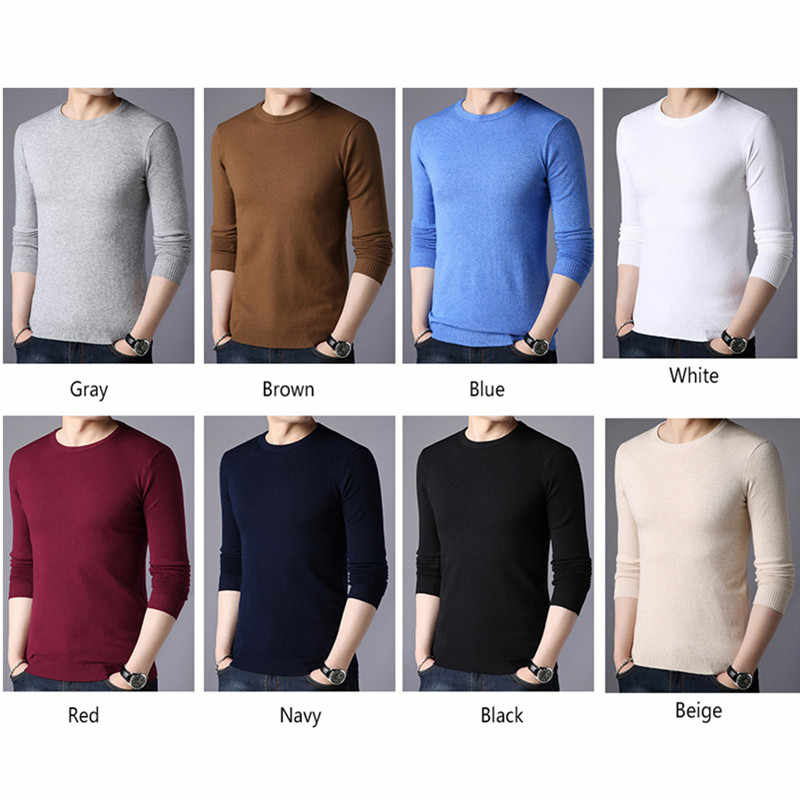 BROWON marque hommes automne pull hommes à manches longues col rond Slims chandail mâle couleur unie affaires blanc pull surdimensionné M-4XL