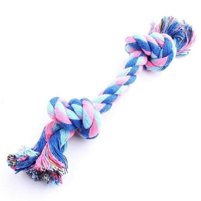 Juguete de doble nudo colorido para perros pequeños grandes gatos perro juguetes para masticar Durable cachorro cuerda de algodón trenzado mascota molar suministros