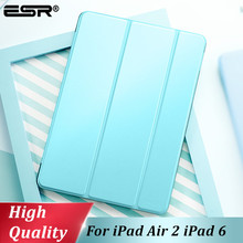 ESR Cover for iPad Air 2 Case Synthetic Leather Translucent Frosted Back Magnetic Smart Cover+Auto Sleep/Wake A1566 A1567 Model цена 2017