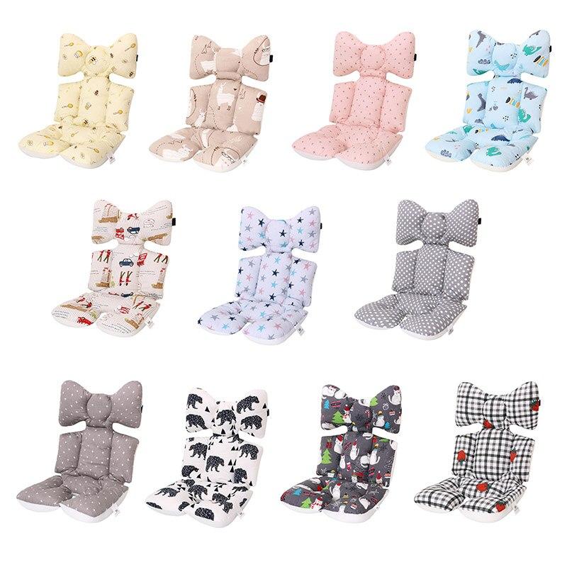2 Different Sides Baby Printed Stroller Seat Cushion Warm Car Seat Pad Cotton Stroller Mat Mattress Pram Stroller Accessories