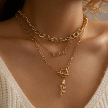 Tocona Boheman Rose Flowers Pendant Necklace for Women Love Gold Alloy Metal Multilayer Sweater Chain Party Jewelry 15239