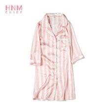 пижама женская hnm/атласные пижамы в розовую полоску рубашки