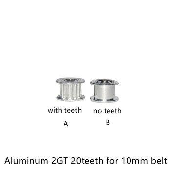 Polea 2GT, polea accionada tipo H, polea de perlina GT2, tiempo de 20 dientes sin dientes, diámetro de 3mm, 5mm, 8mm, ancho de 10mm