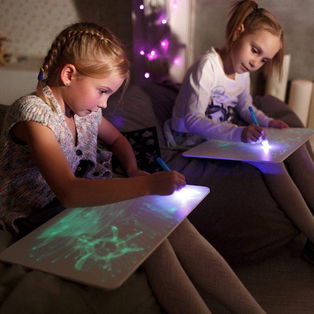 OKLADY Luminous Kids Doodle Scribble Boards A3 Educational Developing Toy Boy GirlMagic Drawing Board With Light For Children