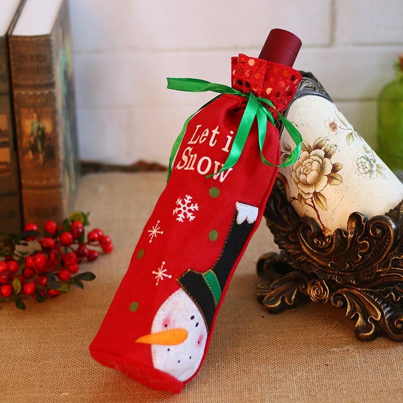 50 шт./лот, Рождественское украшение для дома, крышка для винных бутылок, Рождественский стол, макет, Подарочный пакет, Санта Клаус, прямые пос... - 4