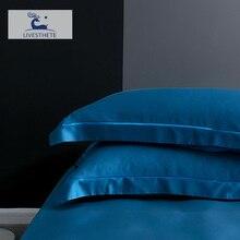 Liv-Esthete  25 Momme 100% Nature Mulberry Satin Blue Silk Pillowcase Healthy Skin Silky Pillow Case For Women Men Sleeping
