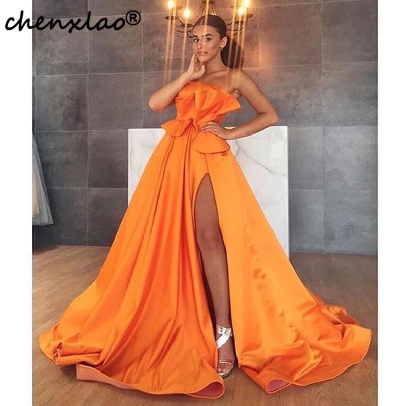 2019 Orange robes de bal avec plis côté fente bretelles Satin élégant longues robes de soirée ruché femmes robes formelles