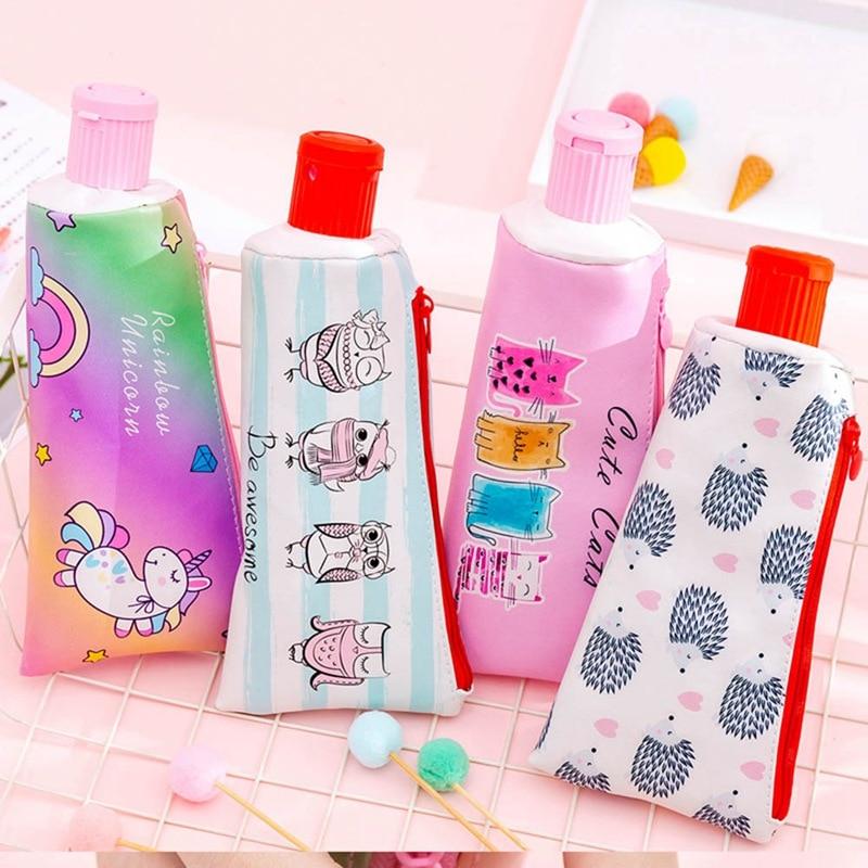Cartoon Unicorn Toothpaste Shape Pencil Case With Pencil Sharpener Large Capacity Student PU Pen Box Pencil Bag