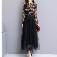 Long Sleeve Loose 3XL Plus Size Loose Dress 2020 spring new lace ethnic style stitching mesh yarn temperament bottoming dress