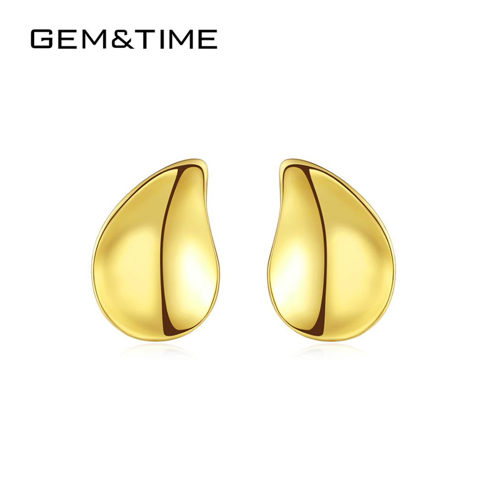 Gem&Time Solid Pure 14k Gold Stud Earrings for Women Anniversary Yellow Gold Fine Jewelry Water Drop Brincos De Ouro Pur E14128