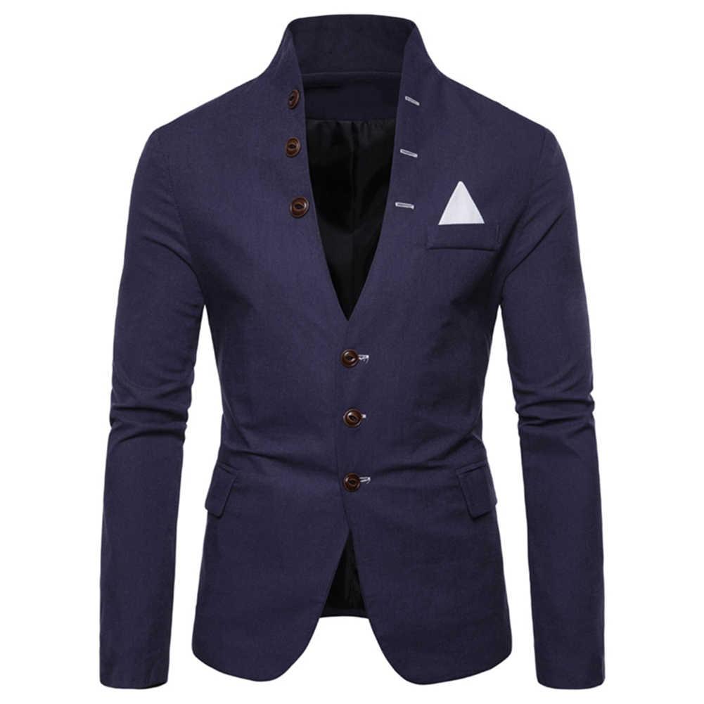 男性スリムフィット社会ブレザー春秋のファッションソリッドウェディングドレスジャケット男性カジュアルビジネス男性スーツのジャケットブレザー Gentlem