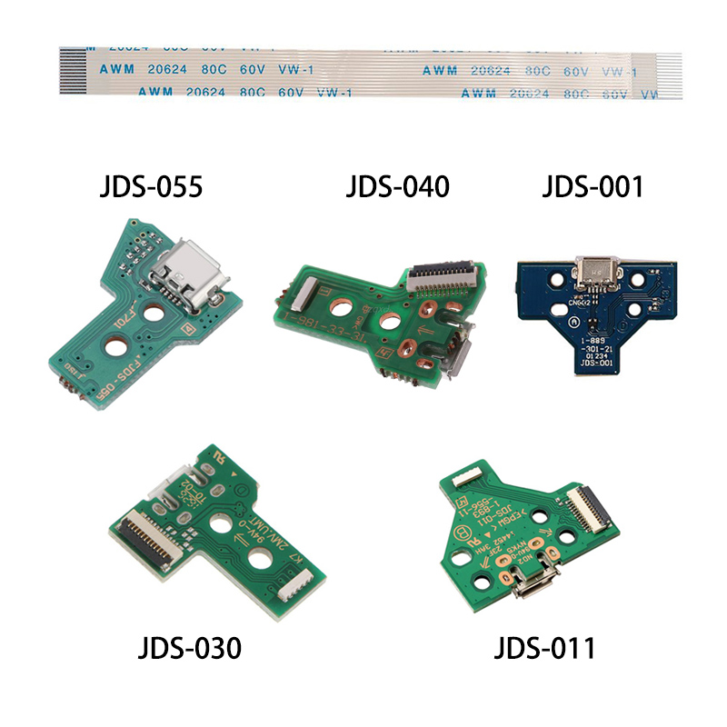PS4 Contrller Replacement  USB Charge Port JDS-030/JDS-011 & 12 Pin, JDS-001 & 14 Pin, FJDS-055 & 12 Pin Connector Cable