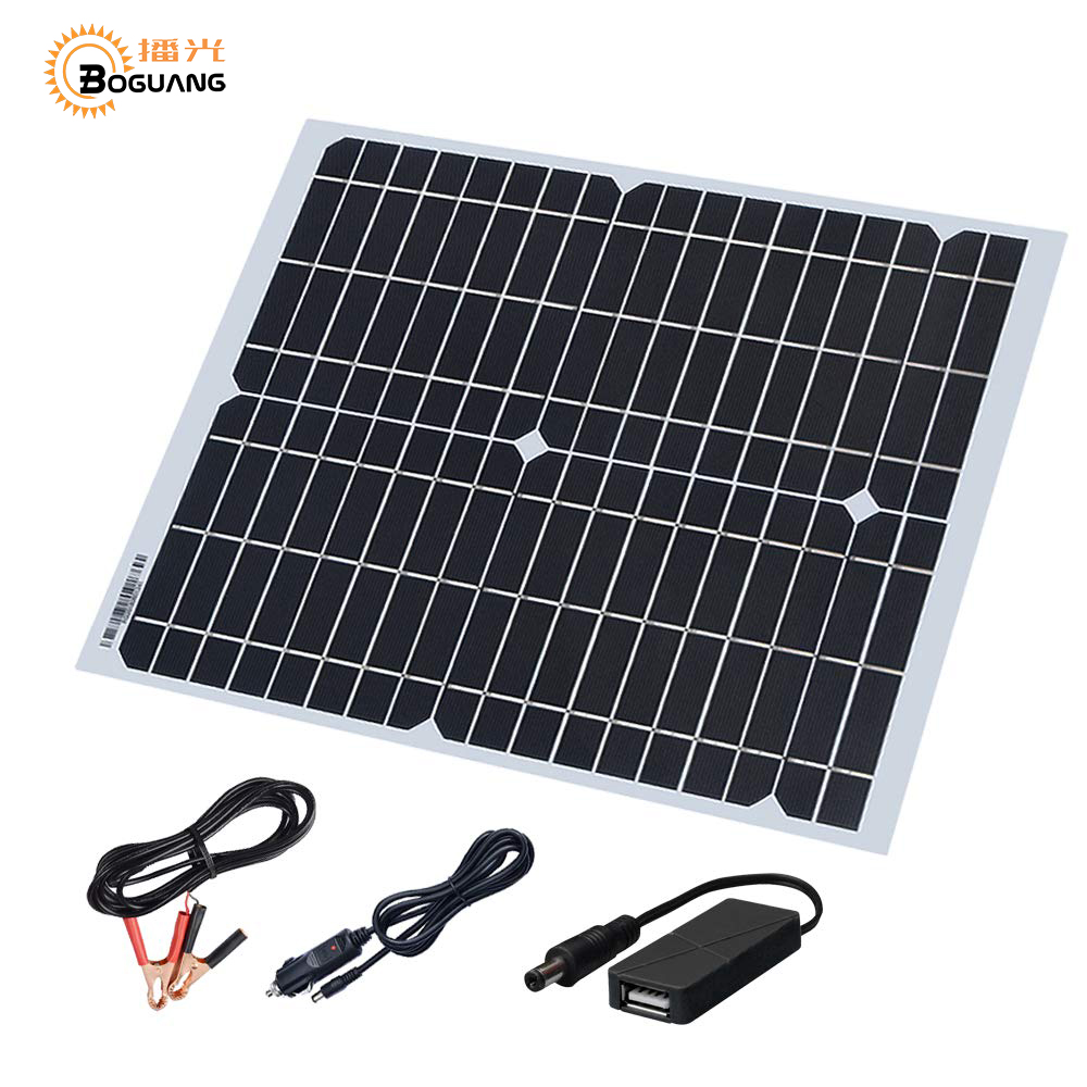 20W 18V Solar Panel Kit Cable 5V USB Cigarette Lighter Alligator Clip Charge For Phone Car Battery And Other Electronic Devices