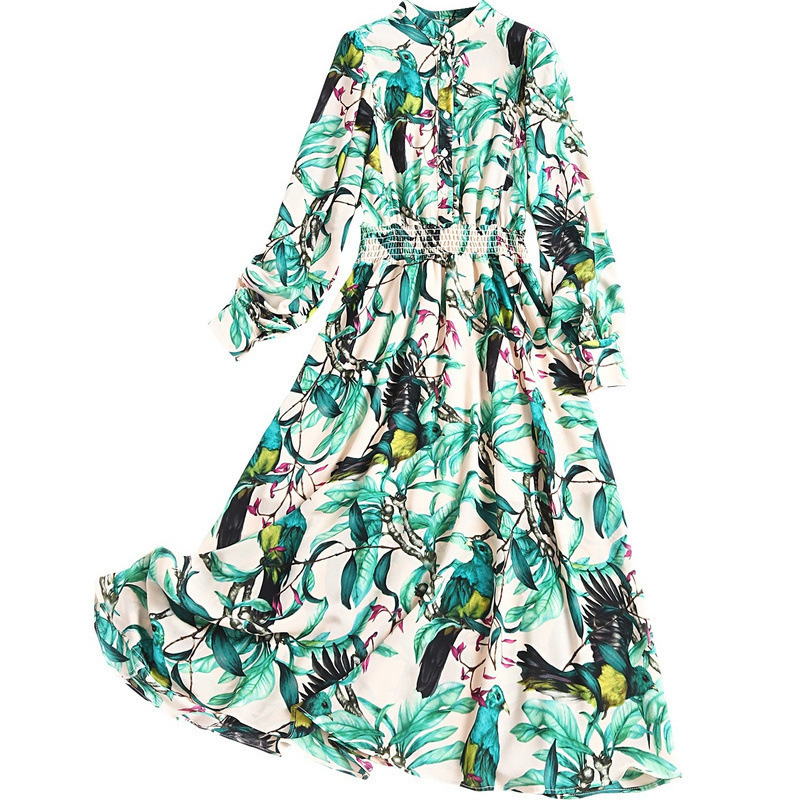 2020 The New Spring Women Green Flower Dress Long Sleeve Fashion Elegant Ladies Casual Korean Party Chiffon Sexy Maxi Clothes