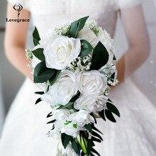 Lovegrace Bride Waterfall Wedding Bouquet Bridesmaid Vintage Wedding Rose Flower Marriage Party Supplies Pink Luxurious Bouquet