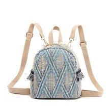 Straw Zipper Bohemia School Bags for Teenage Girls Woven Small Backpack Summer Mini Backpack Women Female Mochila Mujer 2019