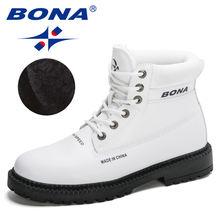 Bona 2020 новые дизайнерские брендовые Зимние ботильоны из микрофибры
