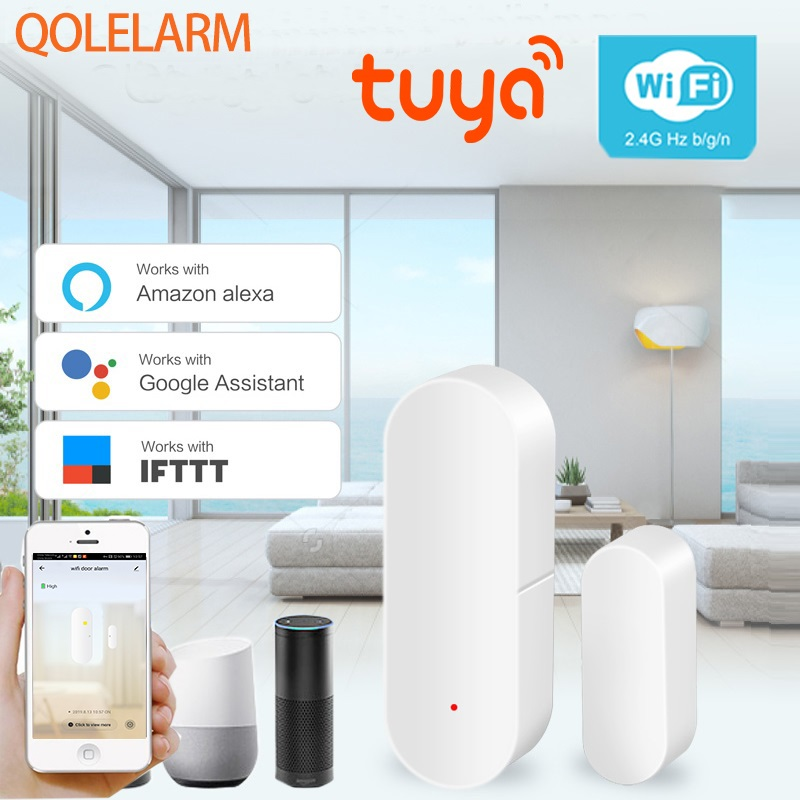 Tuya Smart Home Security WIFI Door Alarm System WiFi Window Door Sensor Detector Via App Compatible Amazon Alexa Google Home