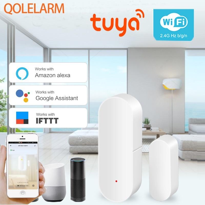 Tuya Smart Home Security WIFI Door Alarm System WiFi Window Door Sensor Detector Via App Compatible Amazon Alexa Google home-in Sensor & Detector from Security & Protection
