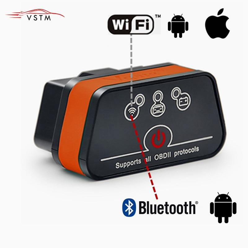 ELM327 2 OBD2 auto diagnóstico Vgate iCar Wifi/Bluetooth para iPhone IOS/Android Icar2 Bluetooth wi-fi ELM 327 leitor de Código de OBDII