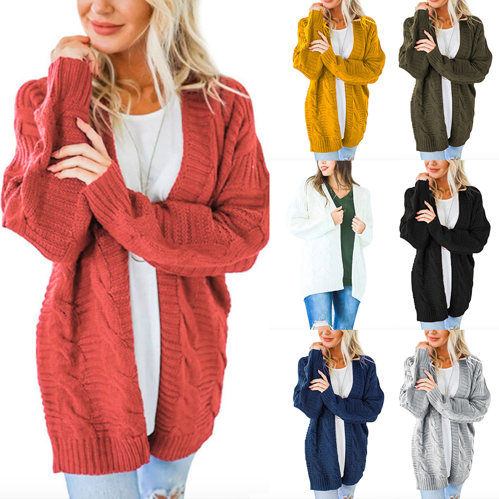 2020 Spring Batwing Long Sleeve Knitwear Women Smooth Knitted Sweater Pocket Design Cardigan Female Jumper Coat Pink
